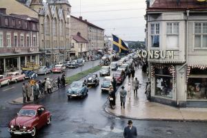 Korsningen Storgatan-Smedjegatan, 1959, foto okänd